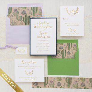 Gold Foil Sage Cactus Wedding Invitations