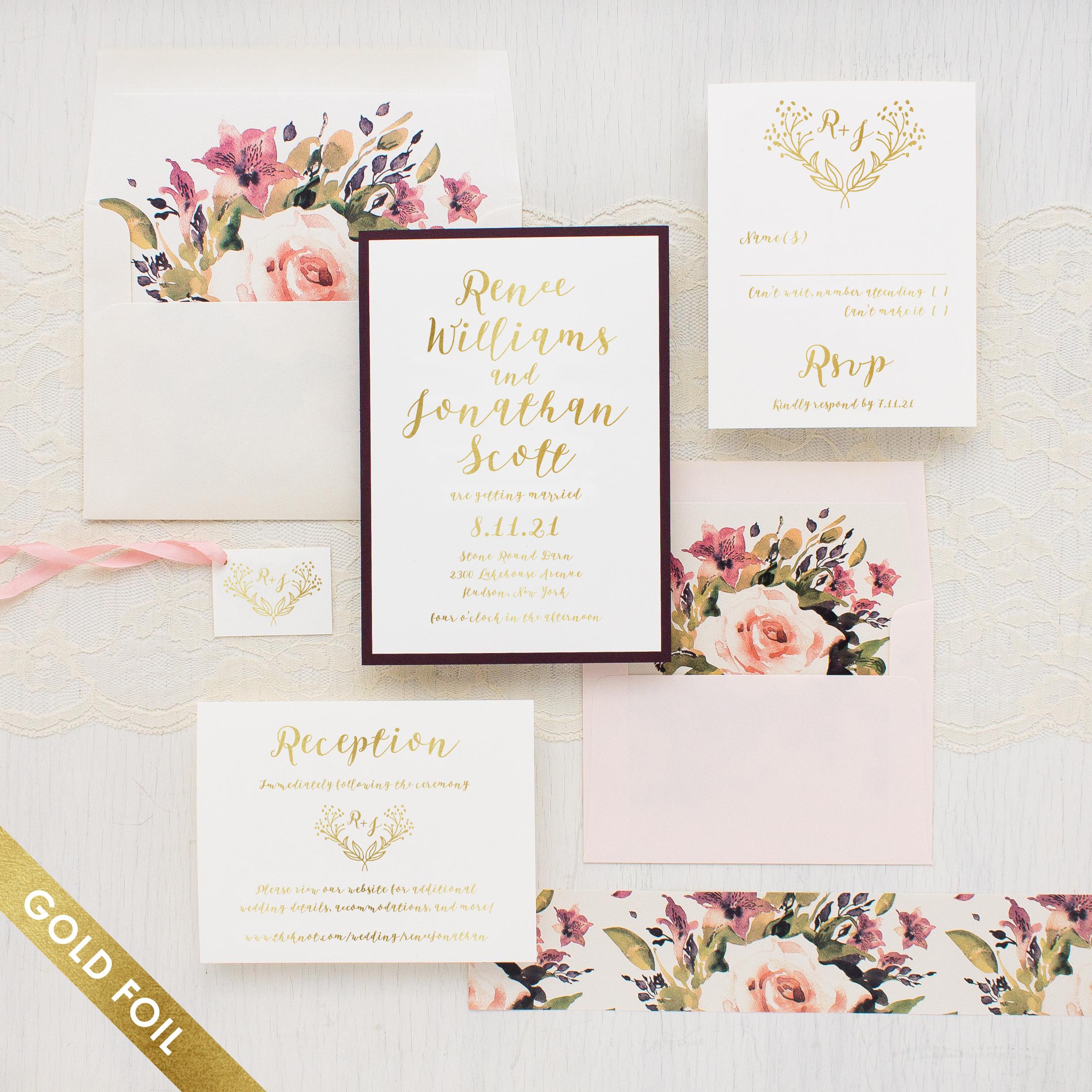 Soft Roses Gold Foil Wedding Invitations