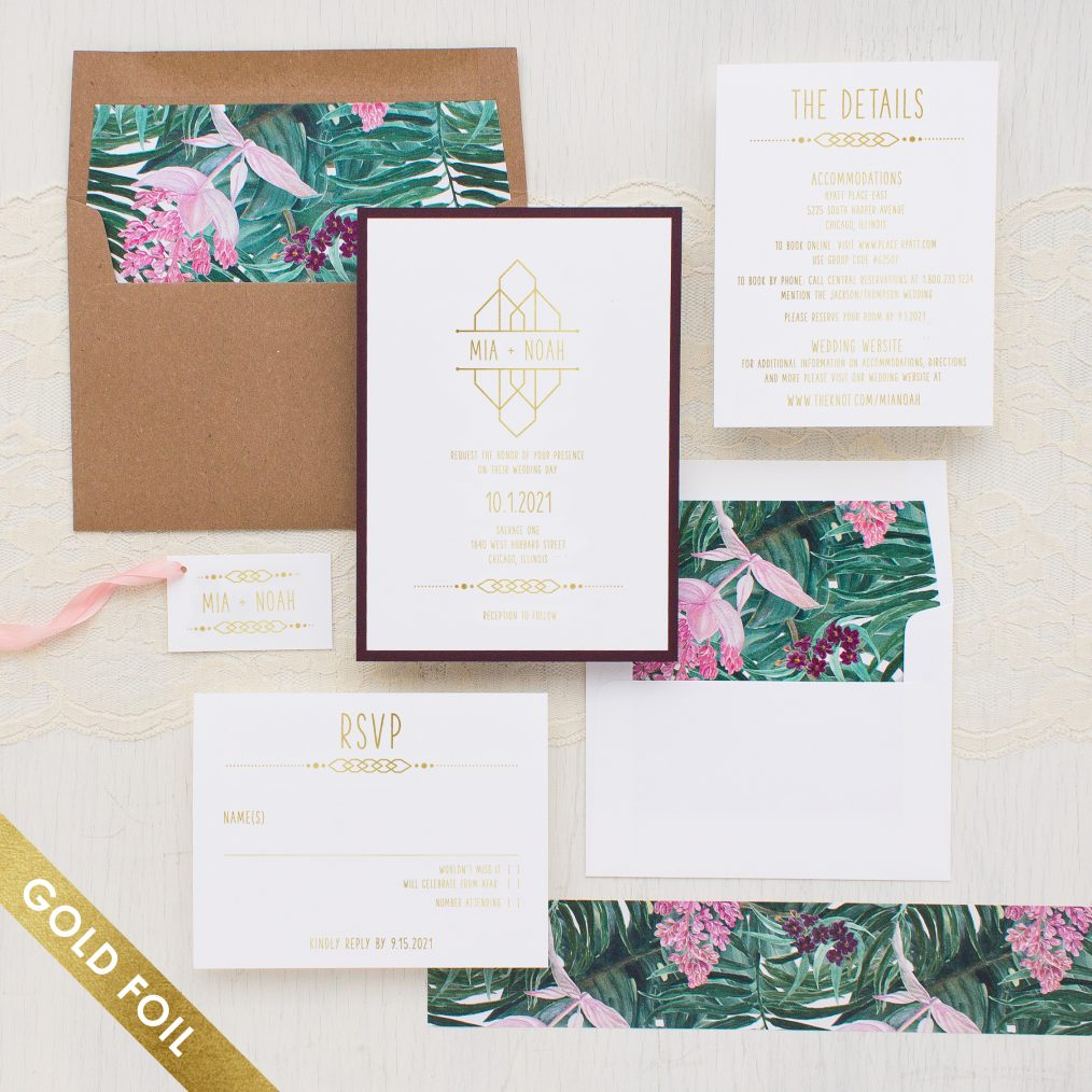 Tropical Forest Gold Foil Wedding Invitations
