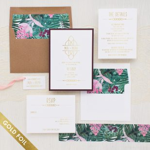 Gold Foil Tropical Forest Wedding Invitations