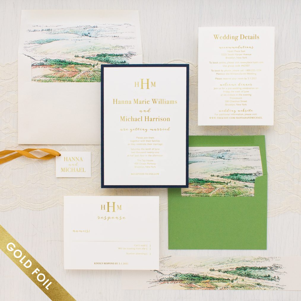 Winery Landscape Gold Foil Wedding Invitations Beacon Lane