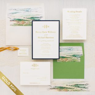 Gold Foil Winery Landscape Wedding Invitations