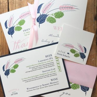 Hops Love Custom Wedding Day Stationery by Beacon Lane