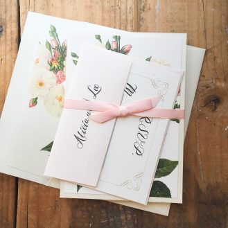 Navy Garden Rose Custom Wedding Invitation by Beacon Lane