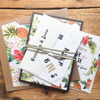 Pineapple Paradise Custom Wedding Invitations by Beacon Lane