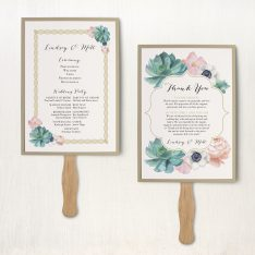 Blush Succulent Ceremony Fans