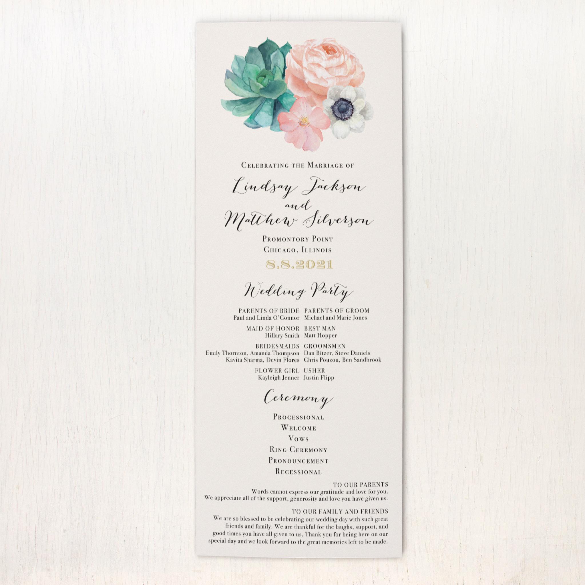 Blush Succulent Flat Ceremony Programs