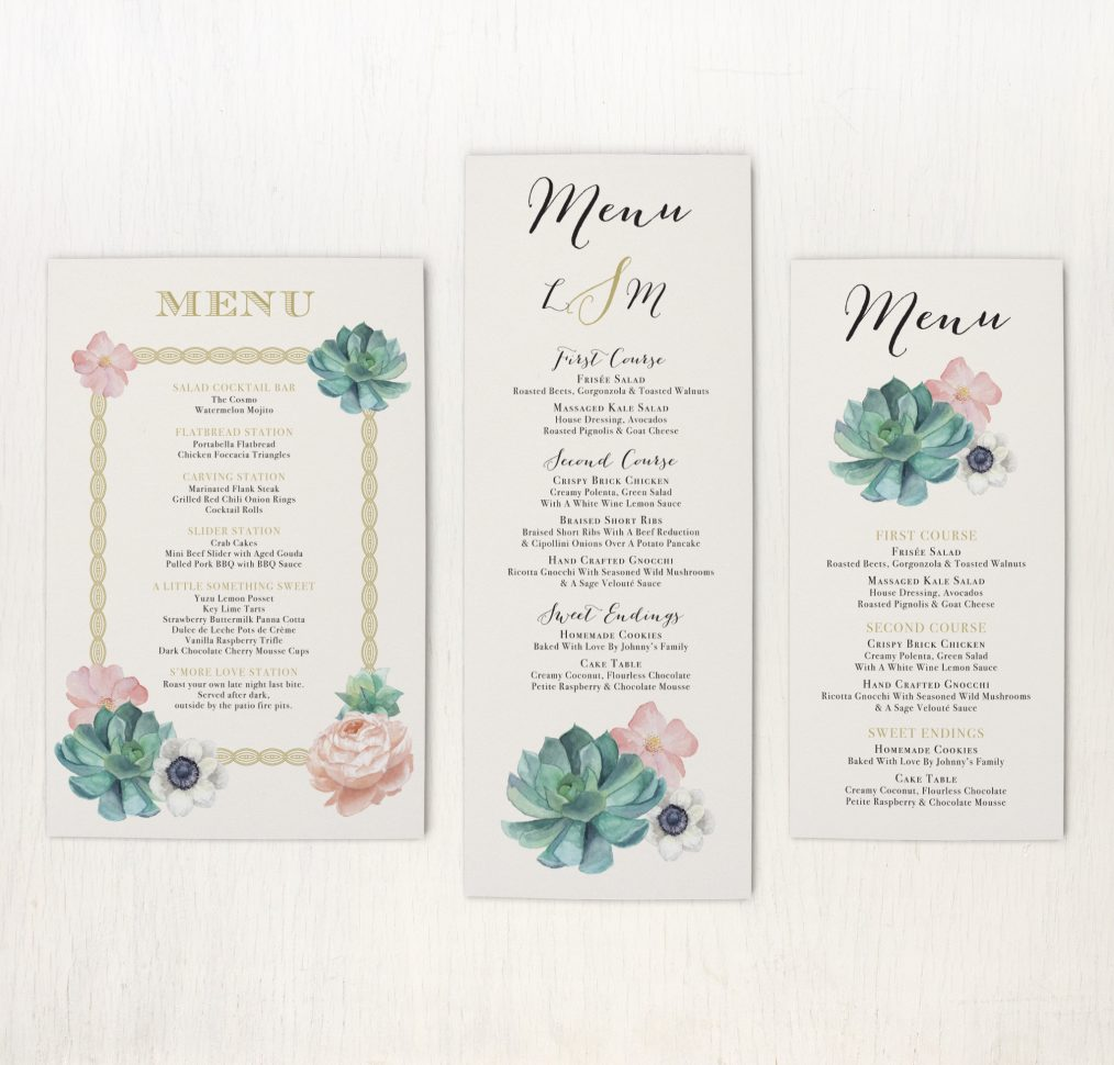 Blush Succulent Flat Menu Cards