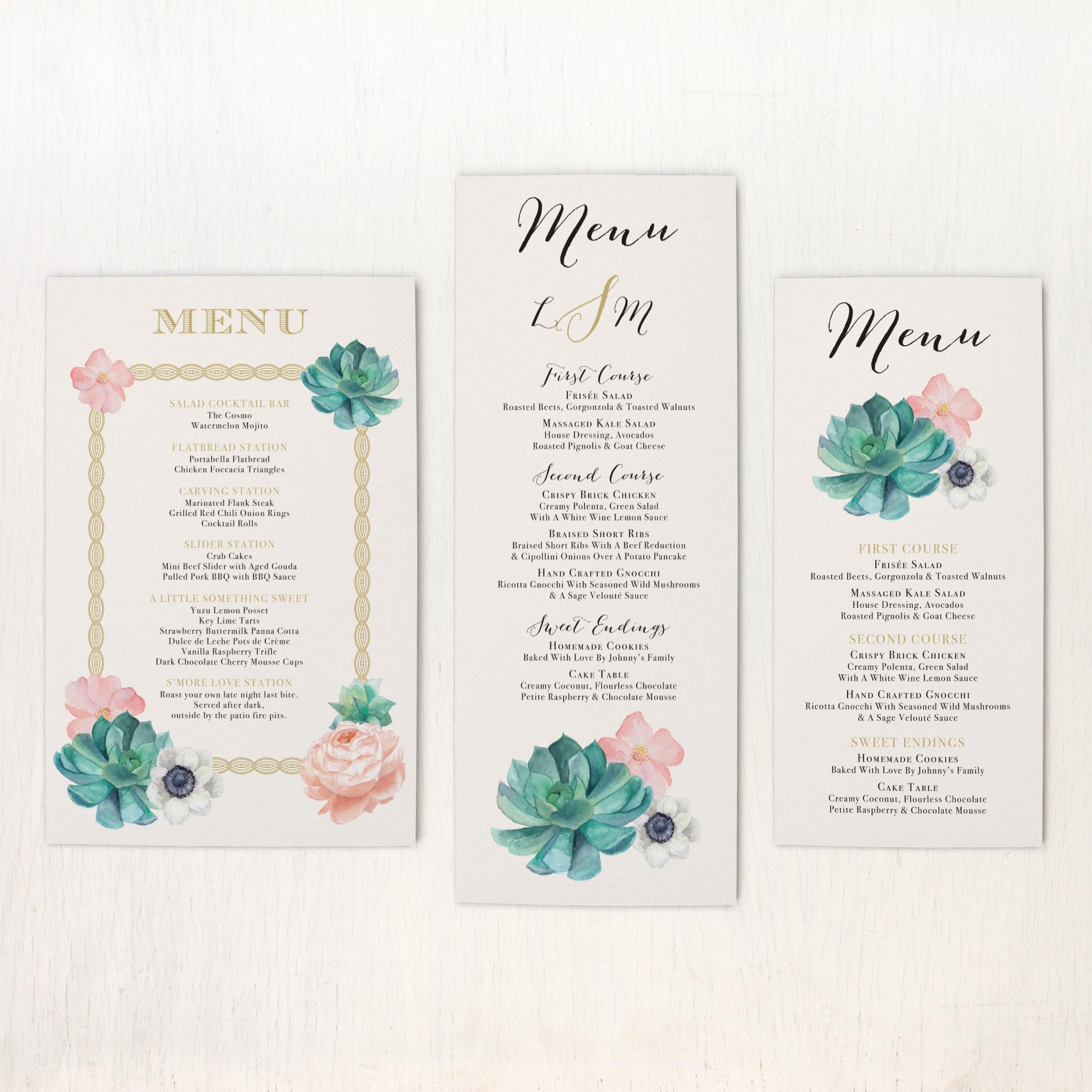 Blush Succulent Flat Menu Cards