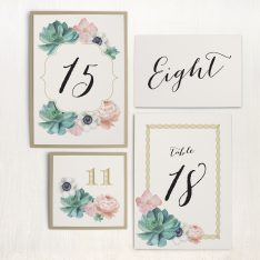 Blush Succulent Flat Table Numbers