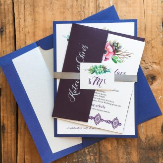 Succulent Script Customized Wedding Invitations by Beacon Lane