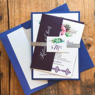 Succulent Script Customized Wedding Invitations by Beacon Lane