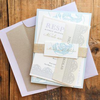 Ruffled Romance Custom Wedding Invitation by Beacon Lane