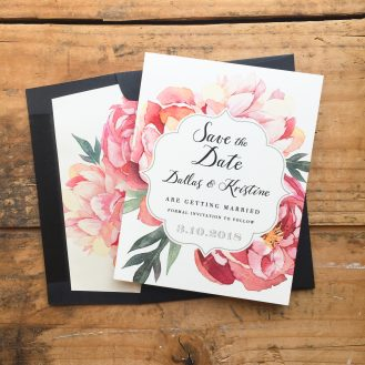 Pink Peonies Customized Save the Date by Beacon Lane