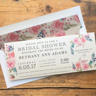 Spring Floral Customized Bridal Shower Invitation by Beacon Lane