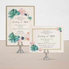 Blush Succulent Rehearsal Dinner Invitations