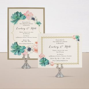 Blush Succulent Rehearsal Invitations