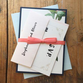 Pastel Peony Custom Wedding Invitation by Beacon Lane