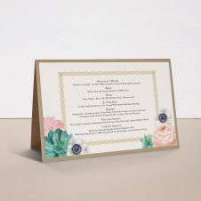 Blush Succulent Tented Menu Cards