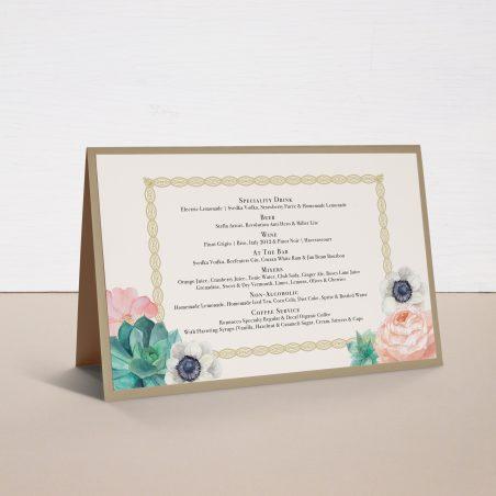 Blush Succulent Tented Menu Cards