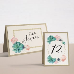 Blush Succulent Tented Table Numbers