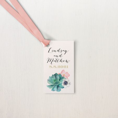 Blush Succulent Favor Tags