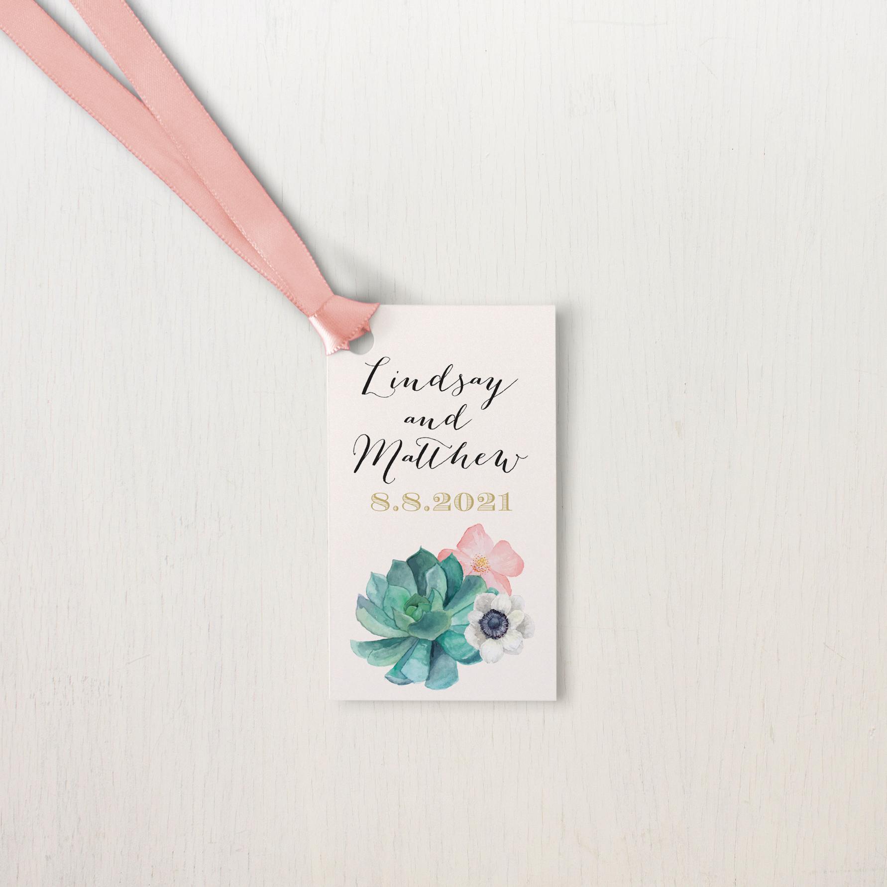 Blush Succulent Customizable Wedding Favor Tags | Beacon Lane