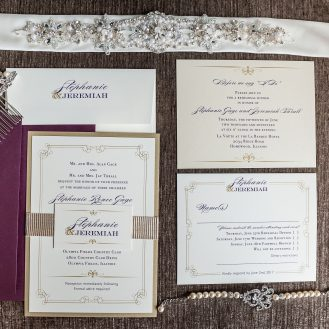 Customized Elegant Navy Script Wedding Invitations by Beacon Lane