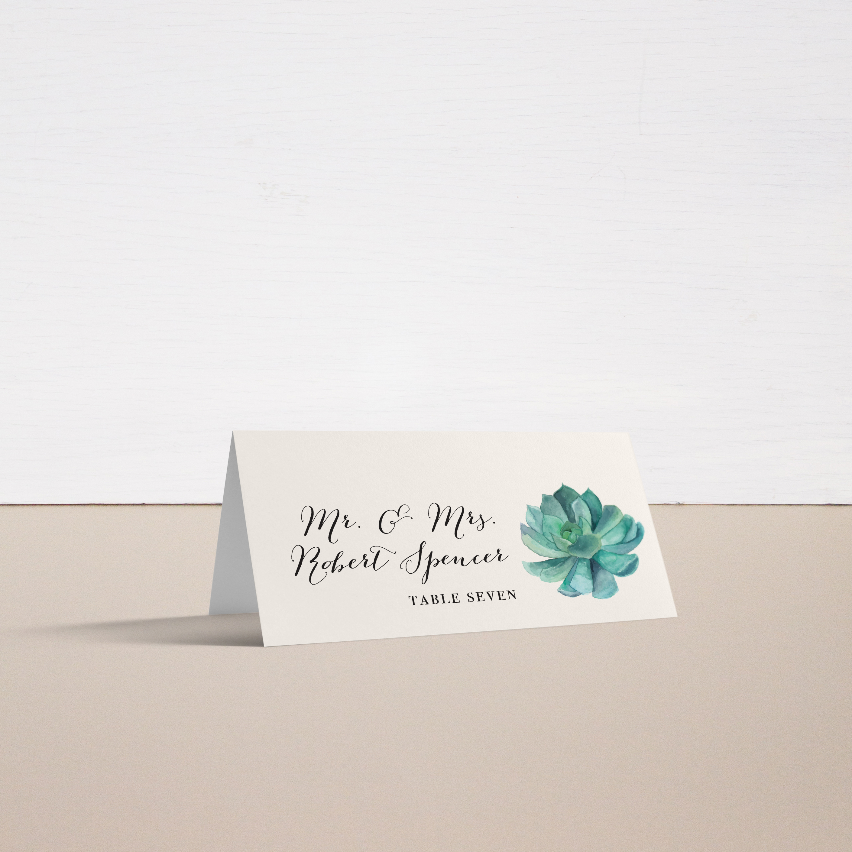 Blush Succulent Personalized Tented Or Flat Wedding Place Cards Beacon Lane