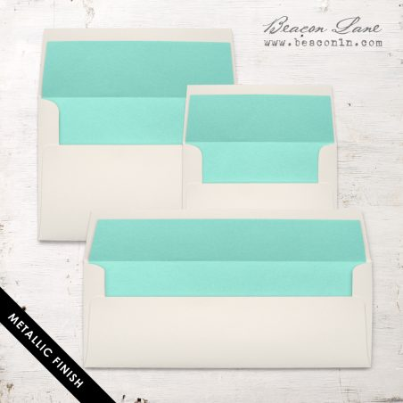 Aqua Metallic Envelope Liners