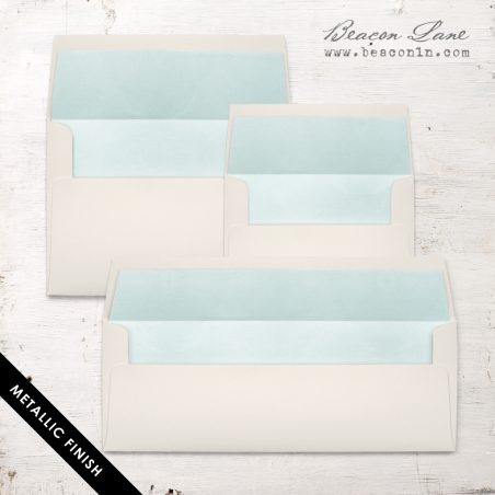 Pale Aqua Metallic Envelope Liners