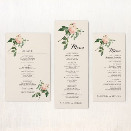 Ivory & Blush Flat Menu Cards