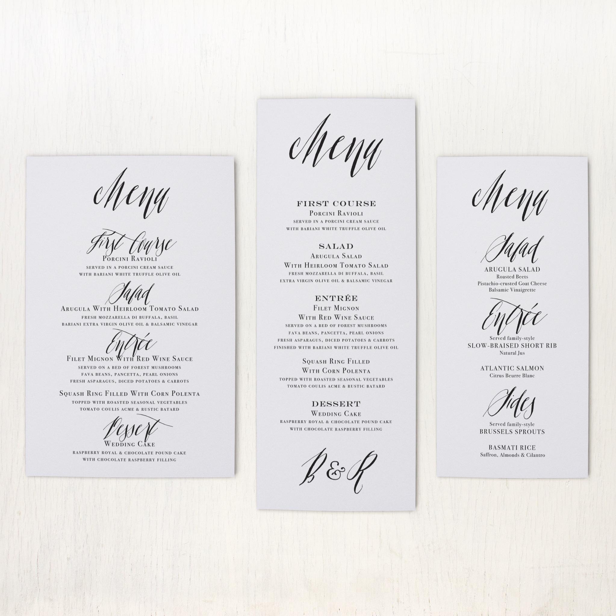 Modern Calligraphy Customizable Flat Simple Wedding Menus | Beacon Lane