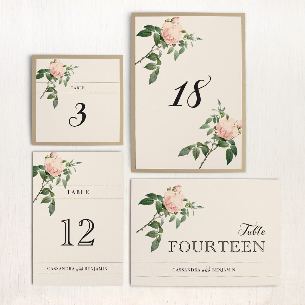 Ivory & Blush Flat Table Numbers