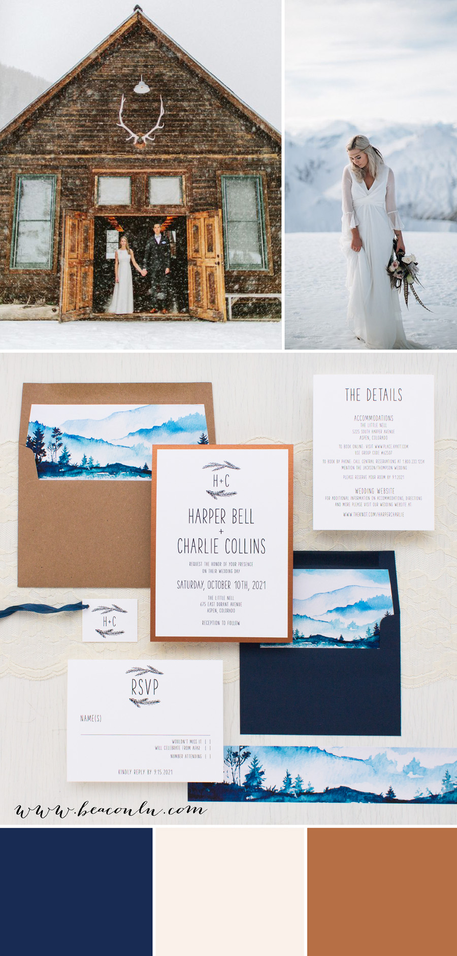 winter blue and copper wedding inspiration