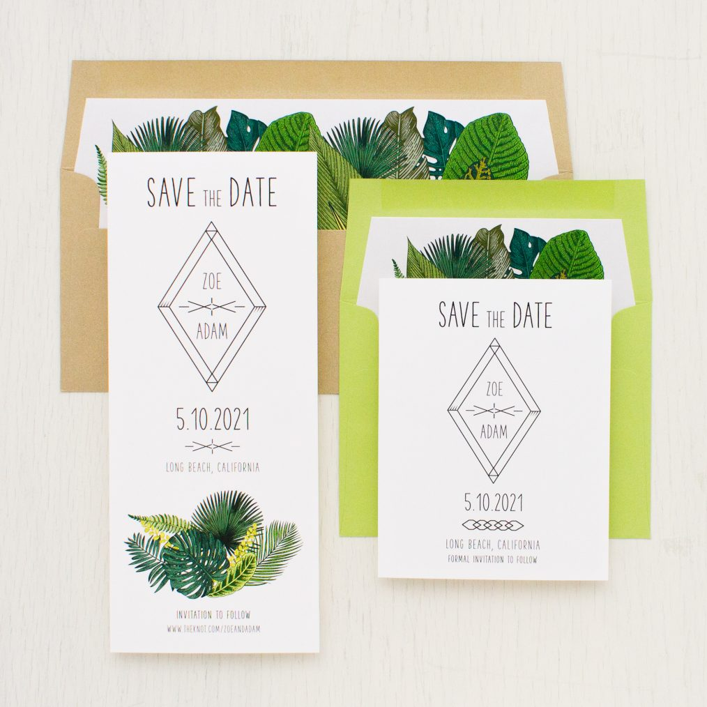 Green Leaf Save the Dates