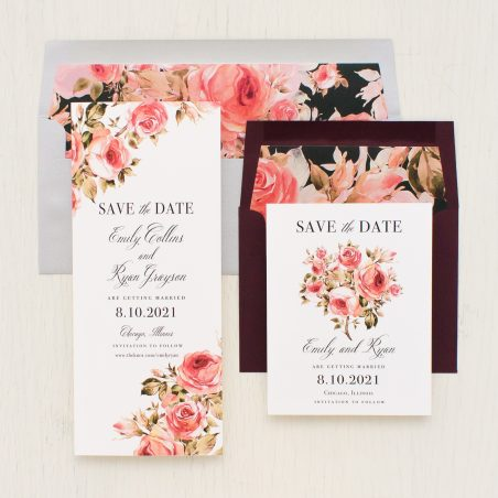 Pink Petals Save the Dates