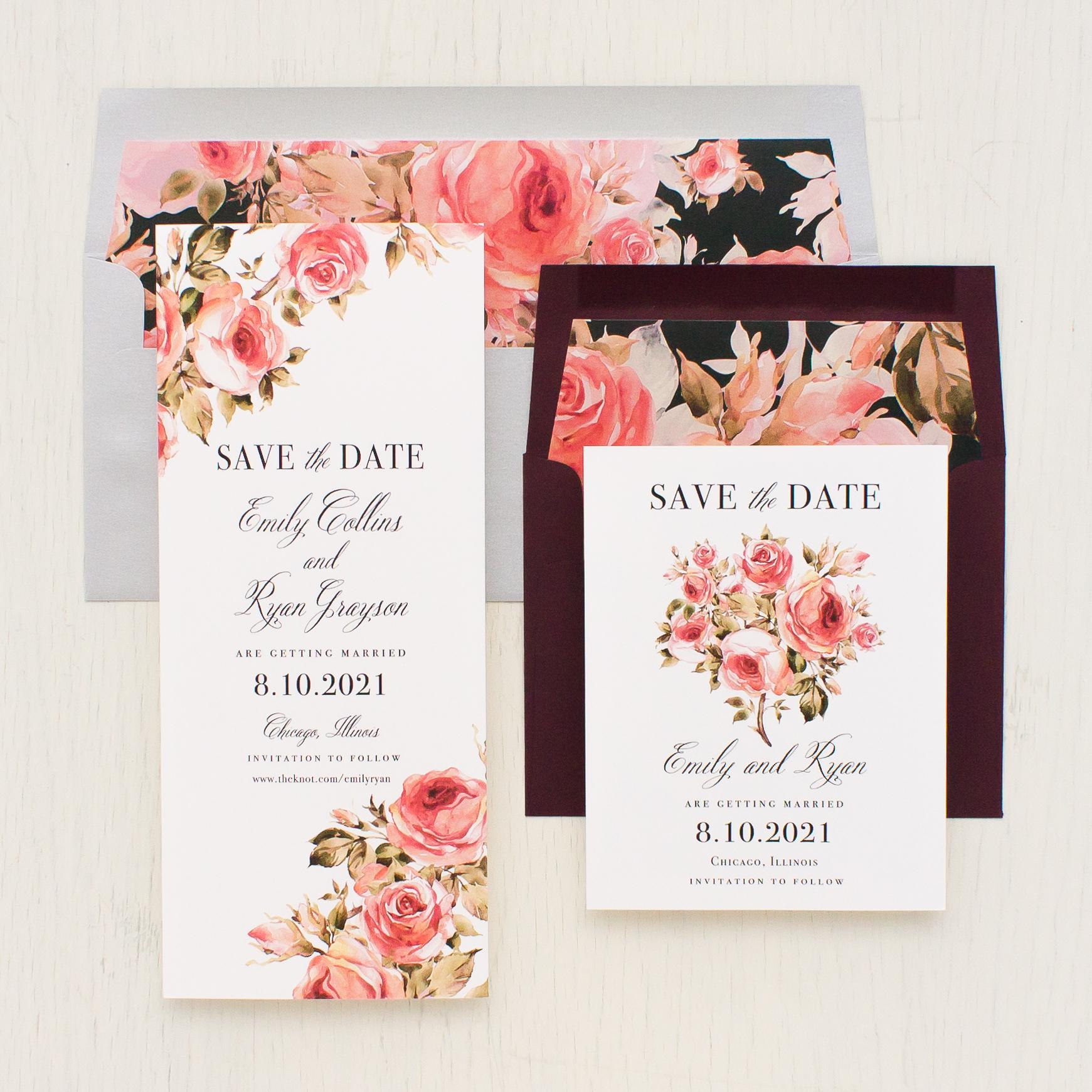Pink Petals Save the Dates