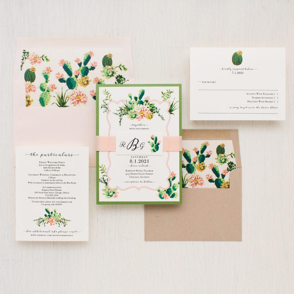 Blush Cactus Wedding Invitations