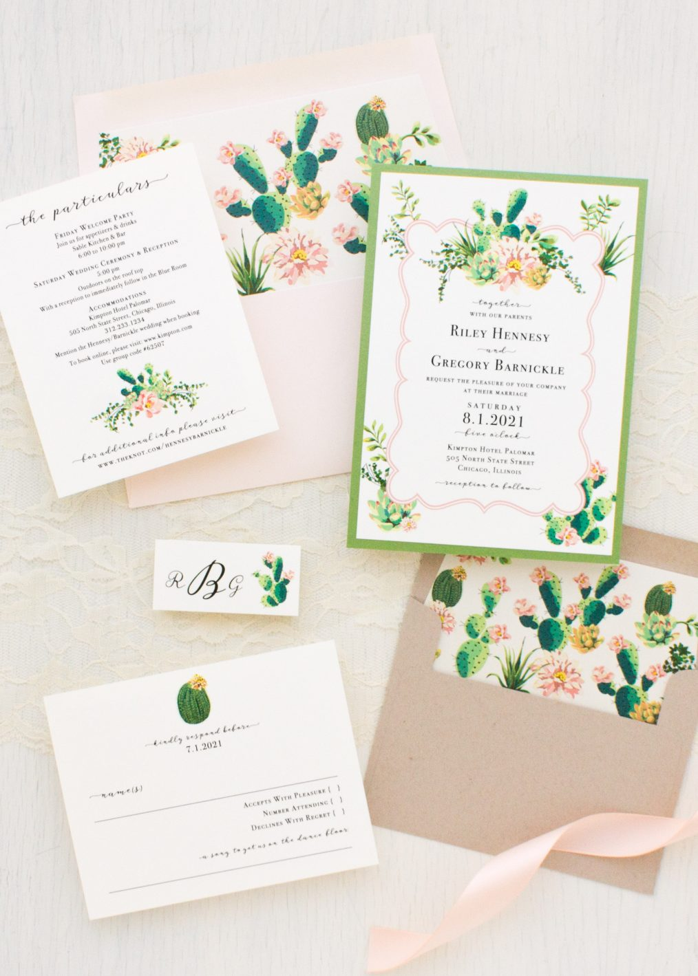 Blush Cactus Wedding Invitations