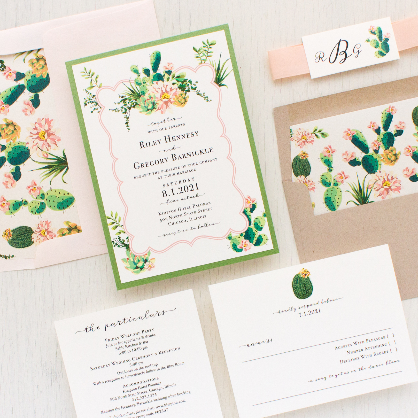 Blush Cactus Wedding Invitations | Beacon Lane