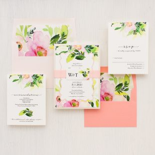 Blush & Coral Floral Wedding Invitations
