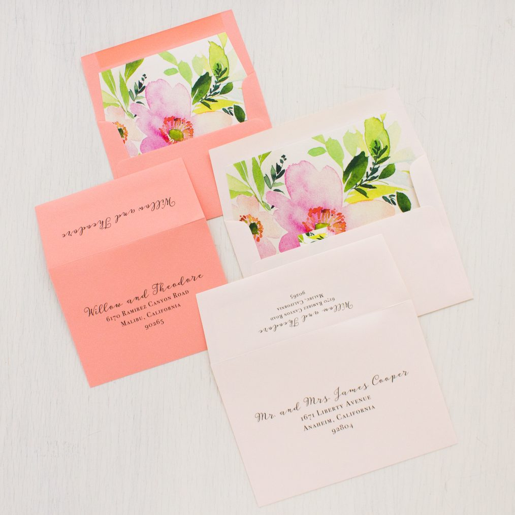 Blush and Coral Floral Wedding Invitations