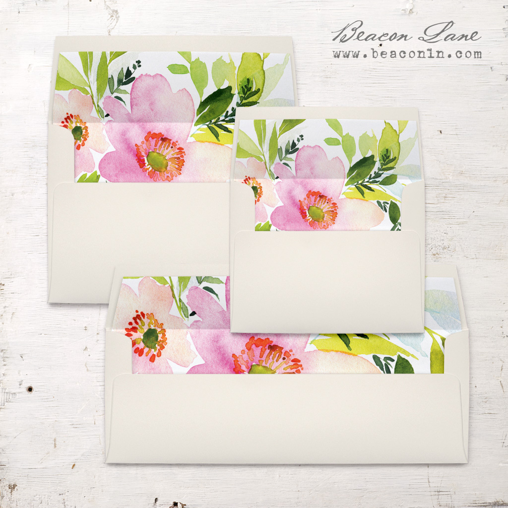 Blush Coral Floral Envelope Liner