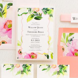 Blush & Coral Floral Wedding Invitations