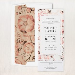 Blush Florals Tea Party Invitations