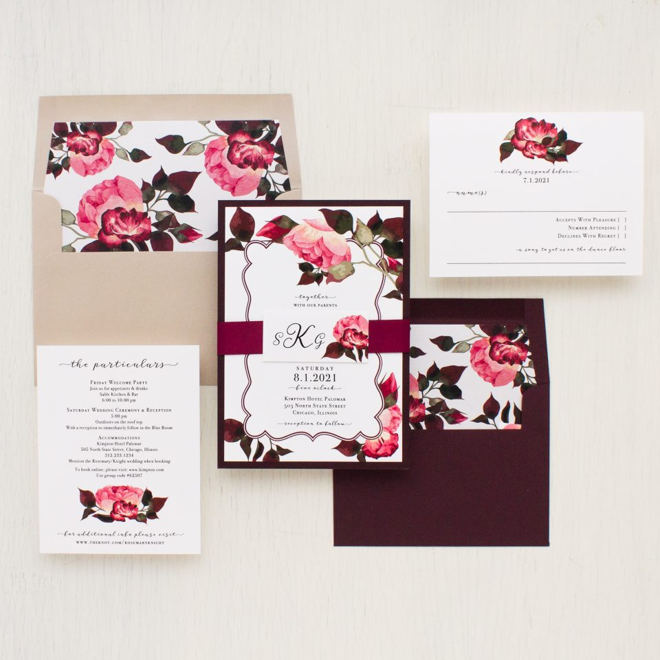 Wedding Invitations Rose: Burgundy Rose Wedding Invitations
