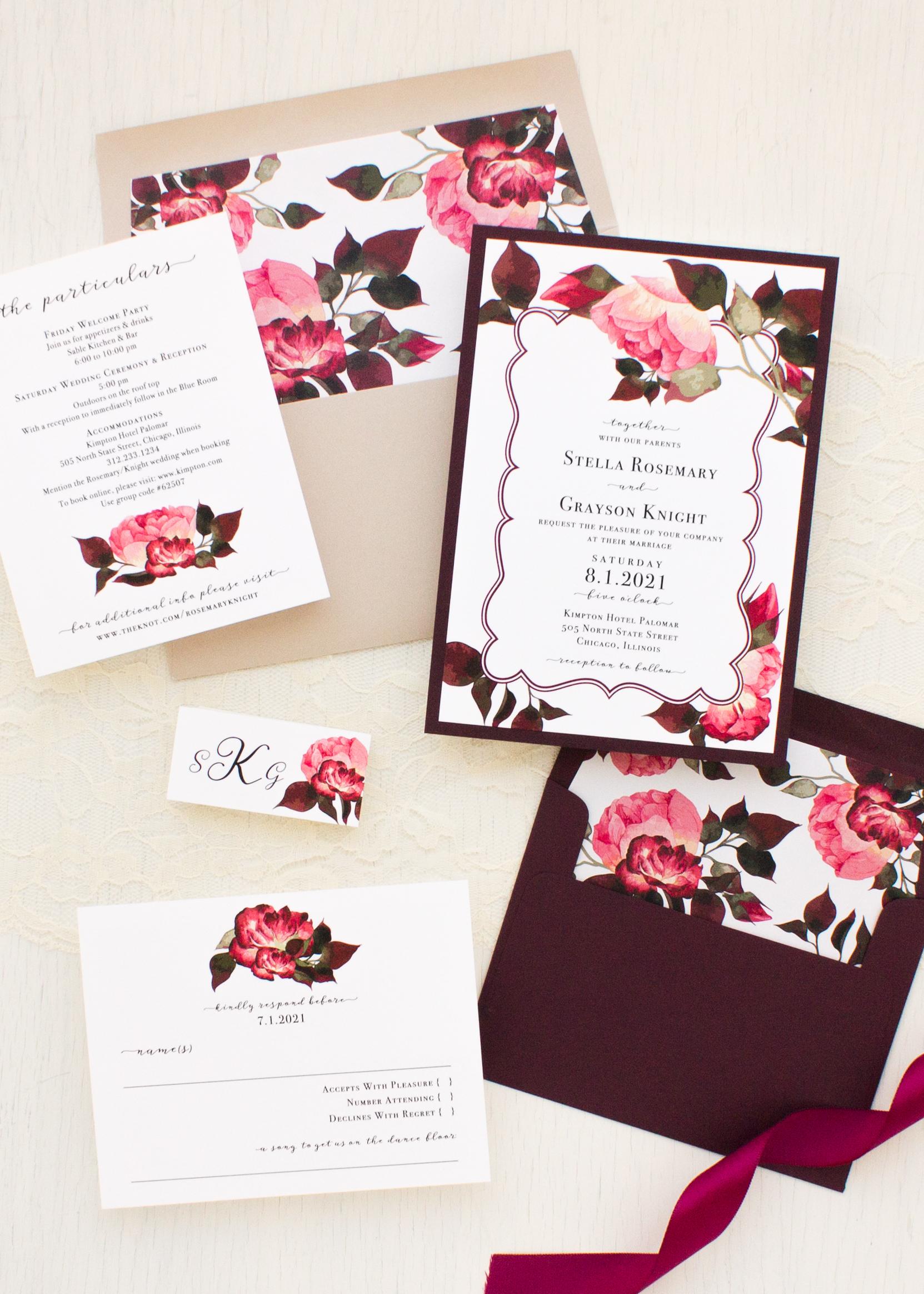 Burgundy Rose Wedding Invitations