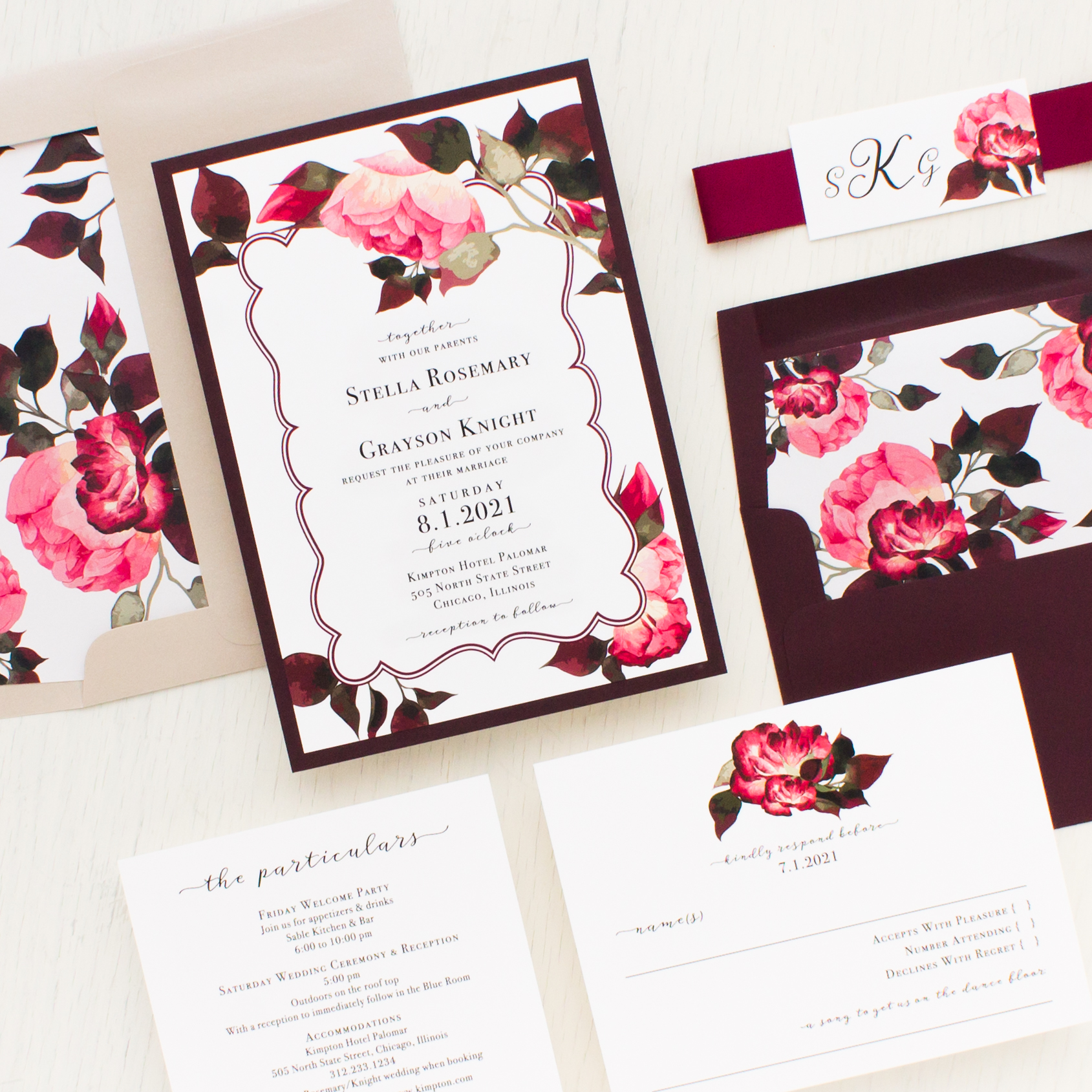 burgundy rose wedding invitations beacon lane