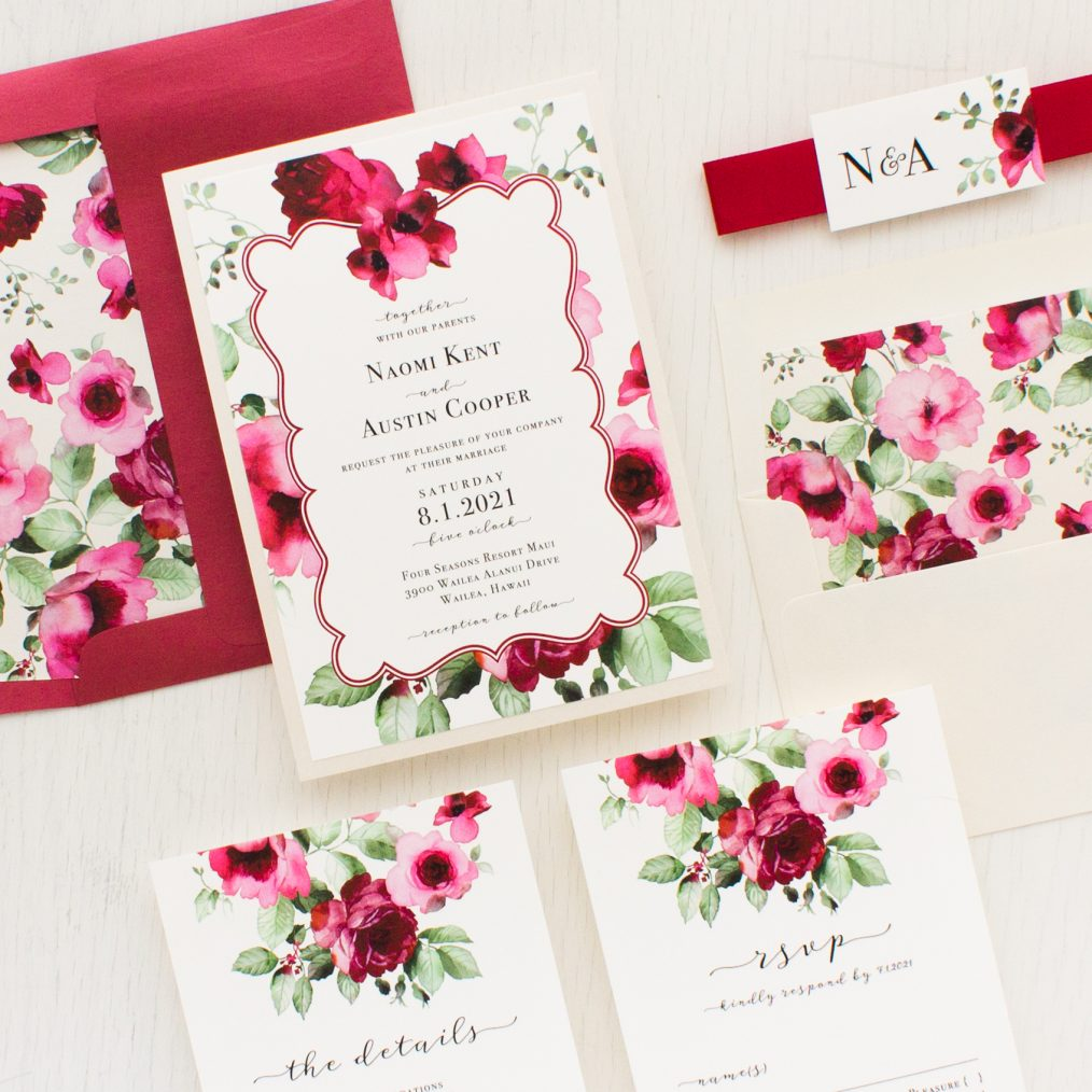 Cranberry Crush Wedding Invitations